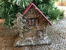 Vintage German Christmas Putz Village Mica Glitter Cardboard House,Silver Tree