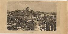 Stampa antica VALEGGIO veduta panoramica Pavia Lombardia 1899 Old print
