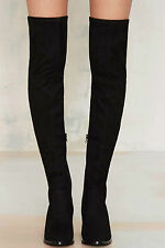 Nasty Gal Running Wild Over-the-Knee Boots size 8.5 black suede new in box