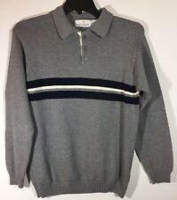 Bill Blass Menswear Collared Polo Sweater Mens L Gray Black White Chest Stripe