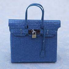 Dolls house miniatures: elegant blue handbag