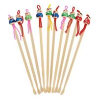 10Pcs Cartoon Doll Bamboo Earpick Spoon Clean Earwax Removers Ear Care Safe Tool
