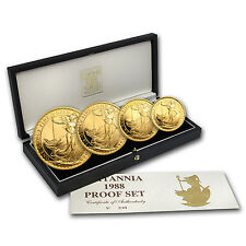1988 4-Coin Gold Britannia Proof Set (w/Box & COA) - SKU #41773