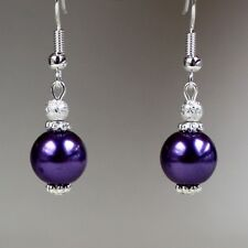 Purple pearls silver short drop dangle earrings party wedding bridesmaid gift
