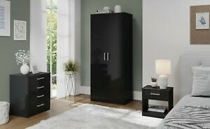 High Gloss Bedroom Furniture Trio Set Chest of Drawers Wardrobe Bedside Table