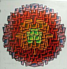 Ancien tableau sérigraphie sur métal cubisme géométrique Omer Resic Bosnie