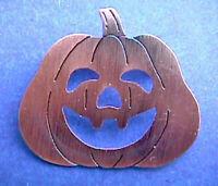 Russ PIN Halloween Vintage PUMPKIN Antiqued COPPER JOL Holiday Brooch