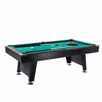 Lancaster 90 Inch Game Room Billiards Felt Pool Table with Balls and Cue, Green