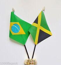 Brazil & Jamaica Double Friendship Table Flag Set