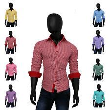 Bügelleichte klassische Slim Fit-Herrenhemden mit Kentkragen