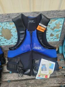 O'Brien Life Vest Jacket PDF New Blue Black XL Boat Jetski Skiing Wakeboarding