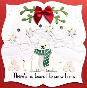 Handmade Susie Embossed Polar Bear Scene Christmas Card Topper FLAT RATE UK P&P