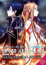 Anime DVD Sword Art Online Sea 1 + 2 + Extra Edition+Offline ENGLISH AUDIO