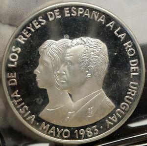 1983 URUGUAY Spain King JUAN CARLOS I & Queen SOFIA Silver 2000 Peso Coin i88192