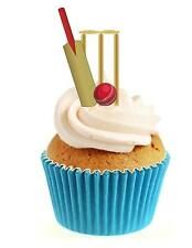 Novelty Cricket Bat Ball & Stumps 12 Edible Stand Up wafer paper cake toppers
