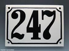 EMAILLE, EMAIL-HAUSNUMMER 247 in SCHWARZ/WEISS um 1960