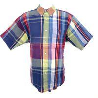Nautica Casual Button Up Shirt Mens  M Multicolor Plaid 100% Cotton Short Sleeve