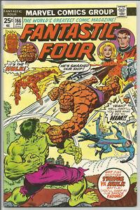 FANTASTIC FOUR #166 FN/VF Thing & Hulk battle issue Buckler cover ~ Marvel 1976