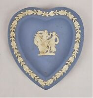 Vintage Wedgwood White And Blue Heart Shaped Trinket Plate Dish