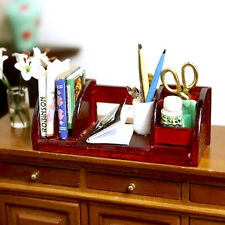 Wooden Book Pen Storage Table For Doll House Miniature Furniture Study Accessory