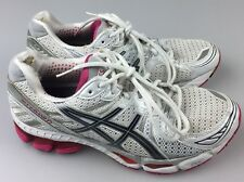 Asics Gel-Kayano 17 Womens Running Shoes SZ 10 White Pink Grey Silver