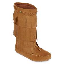 b5a5d4537fd1f Arizona Girls 3 Winter Boots Tall Fringed Janlyn Chestnut  328