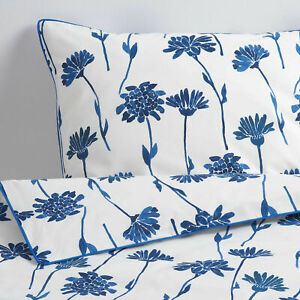 Ikea FINNOXEL Full/Queen Duvet Cover w/2 Pillowcases Bed Set White Blue Flower