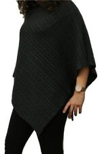 100% Pure Cashmere Luxury Cable Knit Poncho in Lead grey, Handcrafted In Nepal