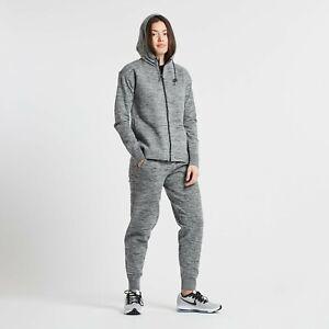 Women's Nike Sportswear Tech KnitHooded Zip Tracksuit Sz XS Carbon Heather