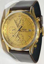 VTG SEIKO 5T52-6A29 QUARTZ WORLD TIMER WATCH GOLD TONE