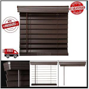 34x64 Inch Espresso Faux Wood Blind Cordless Room Darkening Privacy Window Shade