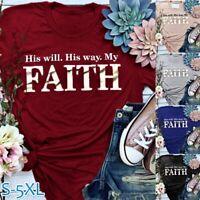 Women Summer Letter Print Short Sleeve T-Shirt Casual Christian Shirt Faith Tops