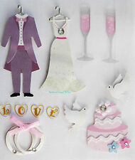 Paper Cellar 3D Wedding Embelishment, Toppers, Self Adhesive, 5 060072 748946