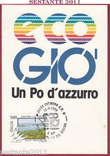 ITALIA MAXIMUM MAXI CARD GIOVANI ECO GIO' UN PO D'AZZURRO 1989 CREMONA B949