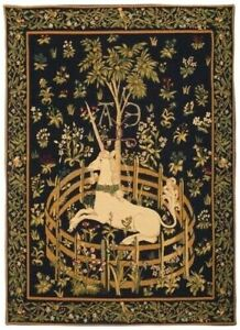 """UNICORN IN CAPTIVITY 28"""" x 20"""" BELGIAN TAPESTRY WALL HANGING, LINED + ROD SLEEVE"""
