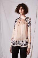 Top shop luxury Boutique 143$ Reverse Bow Neck floral  Blouse size 2