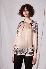 Top shop luxury Boutique 143$ Reverse Bow Neck floral  Blouse size 2