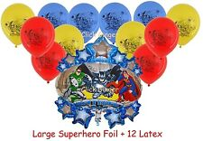 Superhero Avengers Justice League Foil + 12 Latex Balloons Batman Superman Hulk