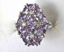 Rose de France  Amethyst & White Zircon Ring, 925 Sterling Silver, sz 6 -- 3.3ct