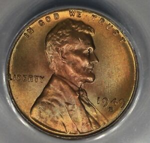 1949-S  .01  ANACS  MS 65 RED  Lincoln Head Cent, Lincoln One Cent