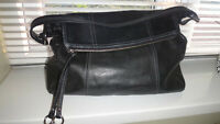 ALFANI Black Soft Leather Shoulder Bag