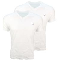 REPLAY Bi PACK 2 Magliette T-Shirt Scollo a V Bianco in Cotone con Logo -S-
