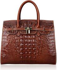 Luxurious New Women's Crocodile Embossed Handbag Real Leather Shoulder Bag Tote