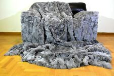 Luxury Real Gray Rex Rabbit Throw Blanket