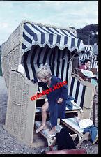 Cute-Boy-bathrobe-Beach - chair-Vintage-original color KB dia-Holiday - 1950s