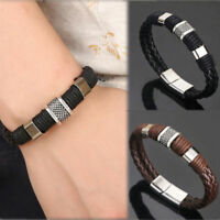 Punk Cool Men's Leather Steel Magnetic Braided Clasp Bracelet Bangle Jewelry Hot