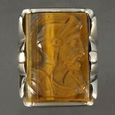 Large, Solid White Gold & Carved Tiger's Eye, Roman Warrior, Men's Estate Ring