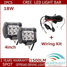 2pcs 18W CREE LED Work Light Bar 4WD SPOT Beam Off Road Jeep  With Wiring Kit