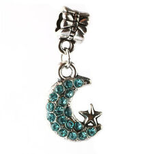 925 Silver CZ Moon and stars pendant Fit European Charm Bead Bracelet A#142