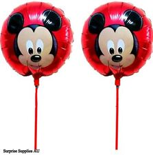 """6X MICKEY MOUSE round foil handheld balloons 8.5"""" (21cm) with stick AU Seller"""